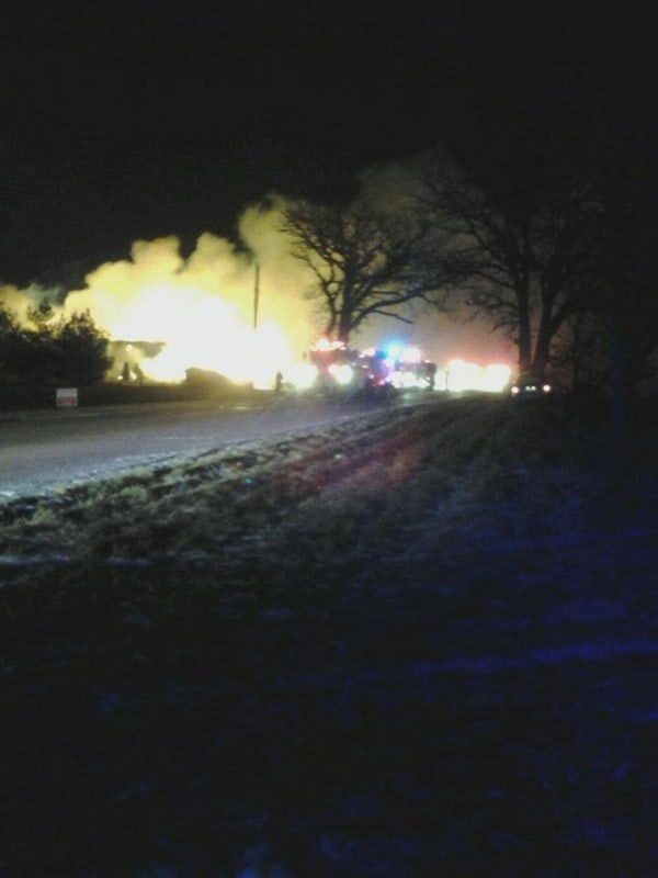 4th alarm barn fire on Kunde Rd in Union
