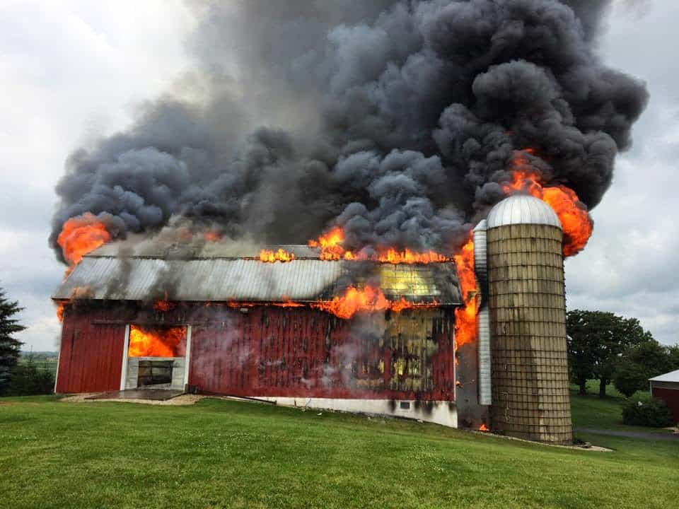 MABAS 5th Alarm for the Working Barn Fire on Hughes Rd in Woodstock