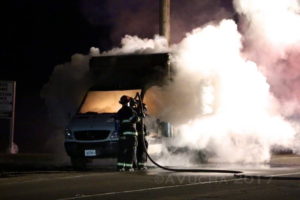 Overnight fire destroys box truck in McHenry