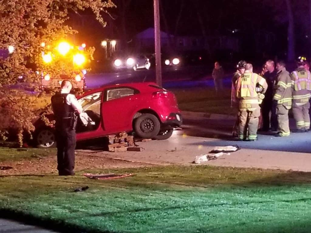 Five injured when teen drives off road near Gurnee, strikes tree