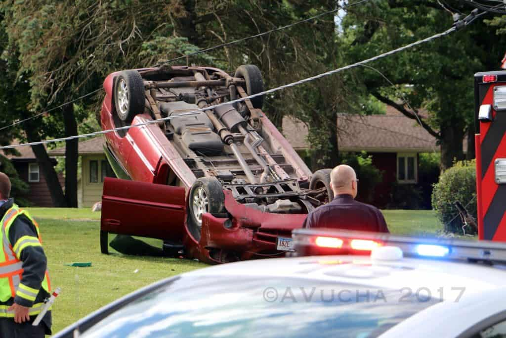 Flight For Life called after minivan hits utility pole and rolls over in Woodstock