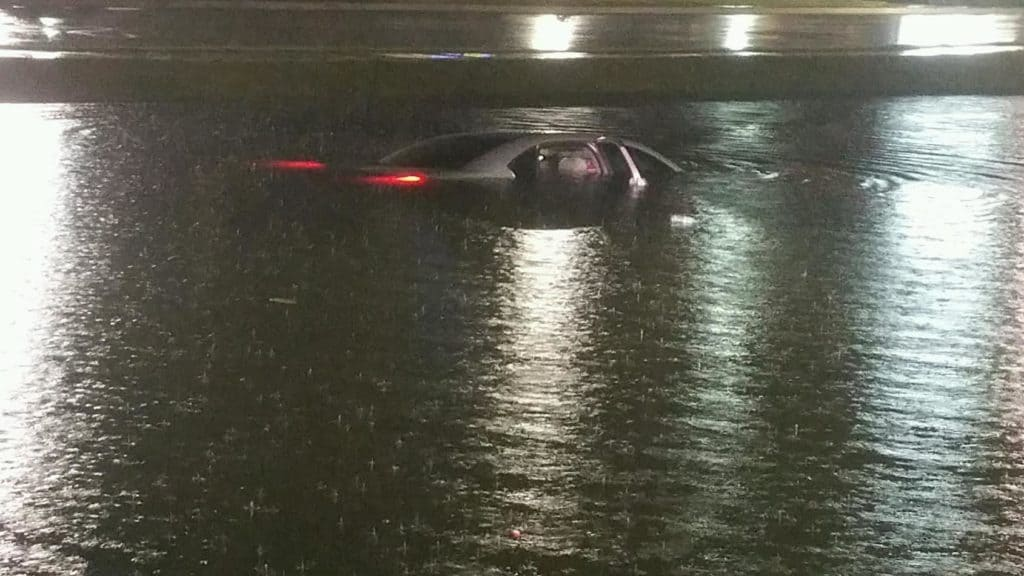 Photo of the car in the retention pond. Photo credit: Round Lake Beach Police Department.