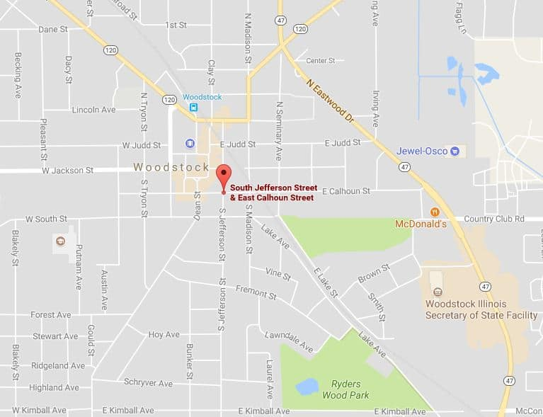 Map of the shooting that occurred at Calhoun Street and Jefferson Street in Woodstock.