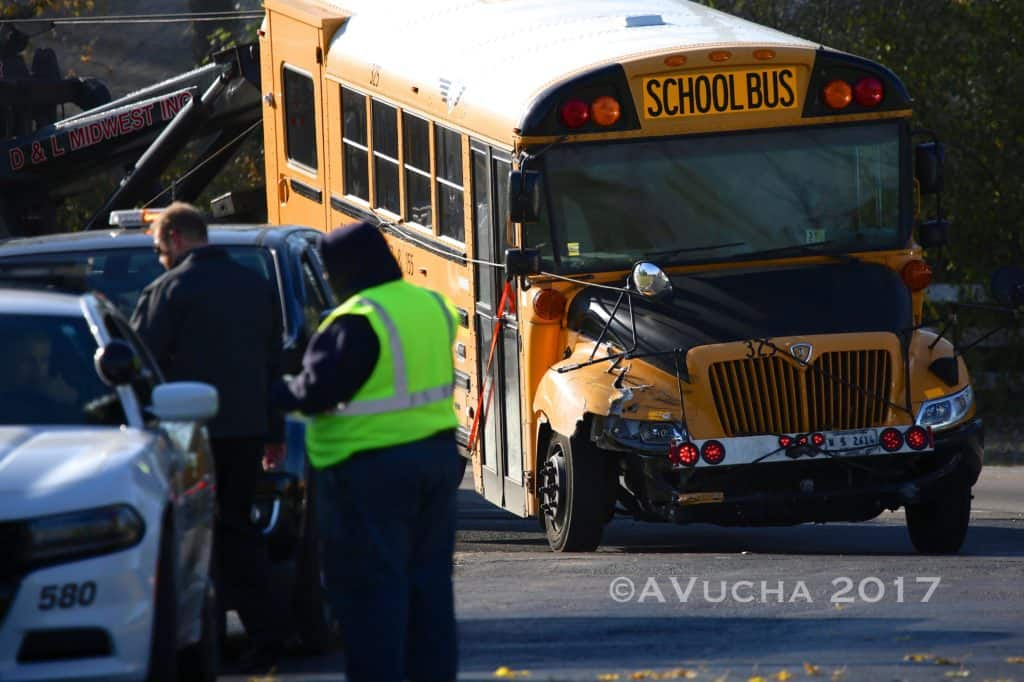 3 people injured after school bus and car crash head-on in Crystal Lake