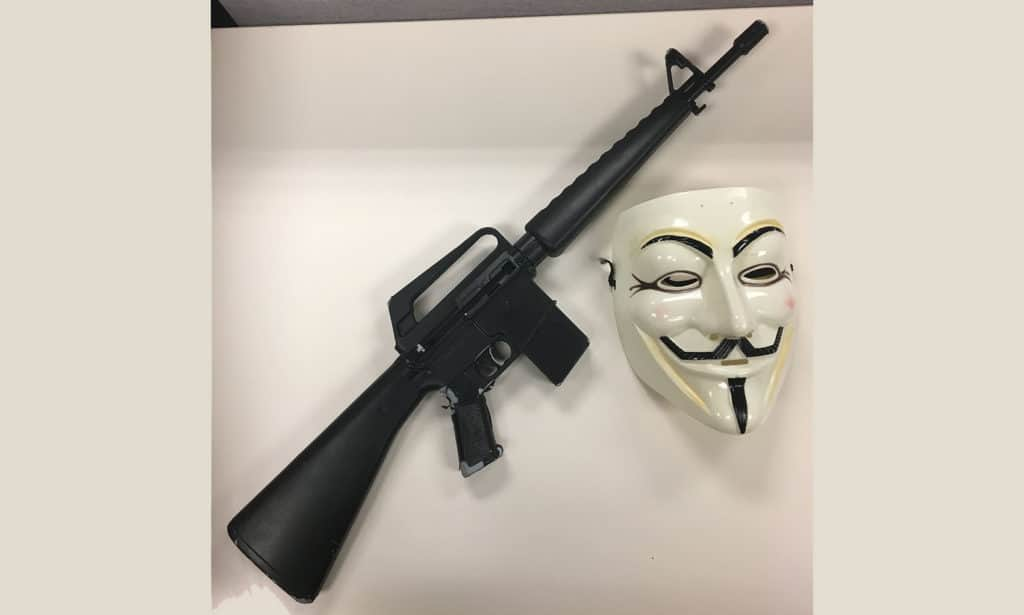 The mask and replica assault rifle allegedly used by a Mundelein teen.