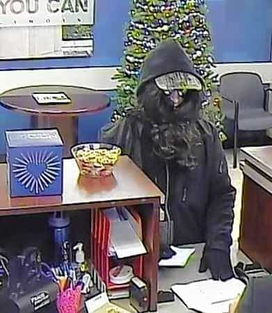 Photo provided by the FBI of the Cary bank robbery.