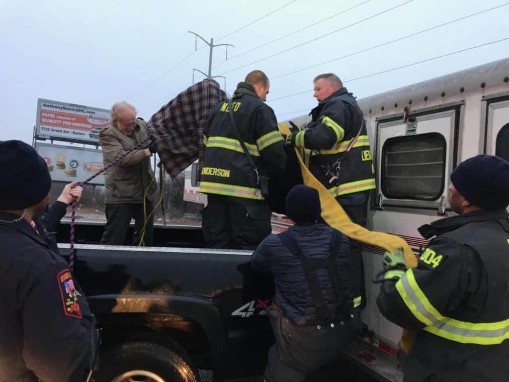 North Chicago firefighters rescue horse that got stuck after jumping out of trailer