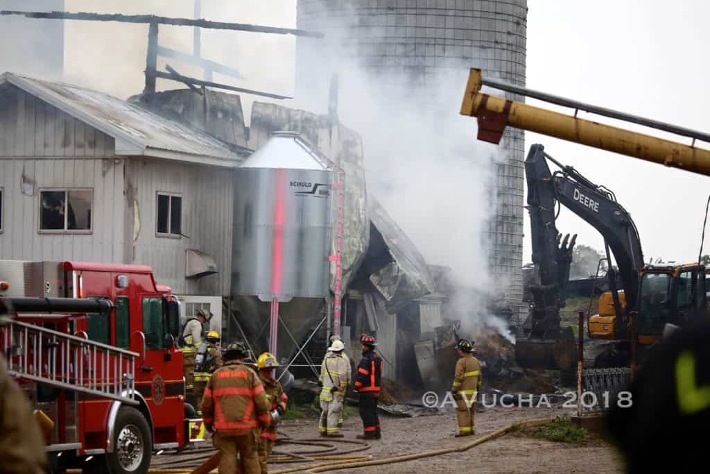 Extra-alarm fire damages Hebron farm