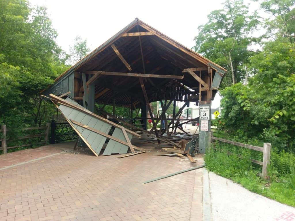Historic Long Grove bridge destroyed after truck crashes into it
