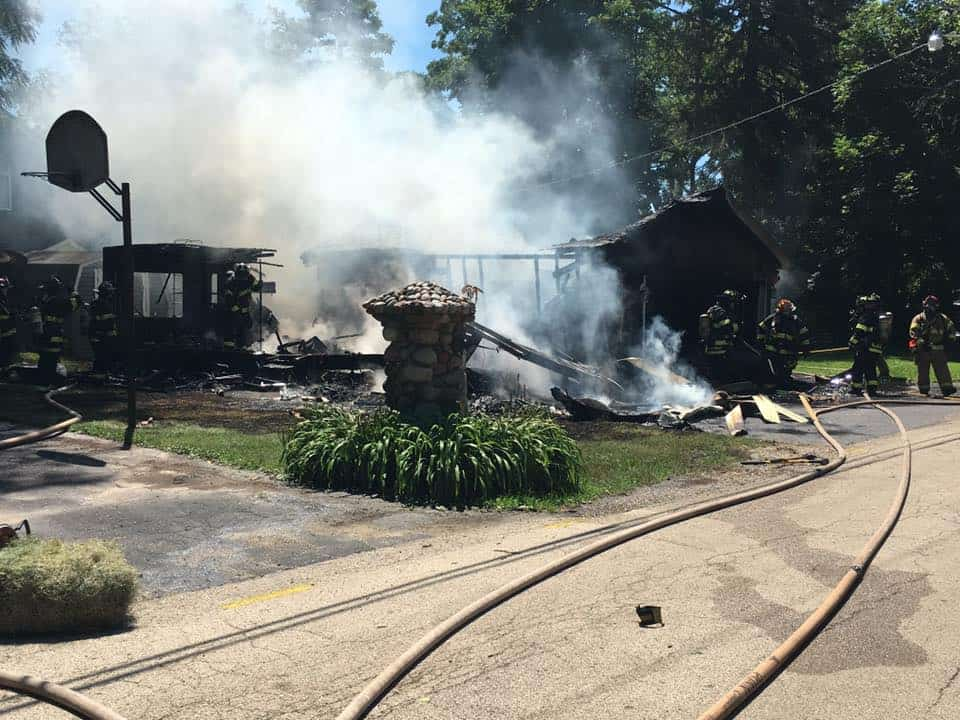 Garage and RV destroyed after being engulfed in flames in Cary