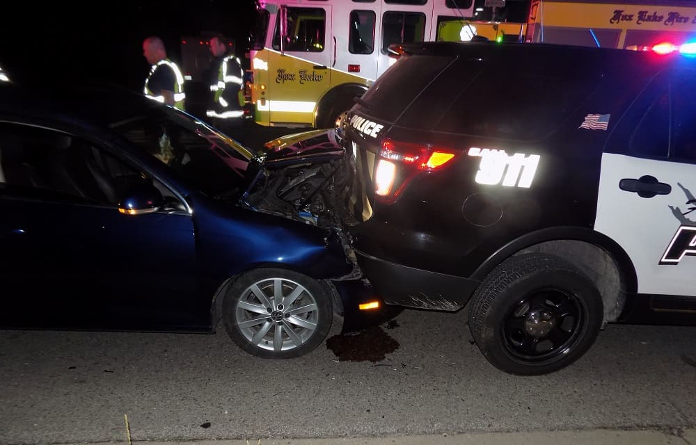 Drunk driver crashes into Fox Lake police car during traffic stop near Spring Grove