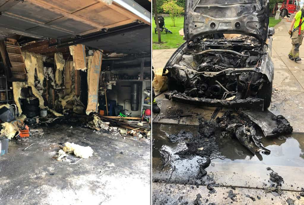 No injuries after car catches on fire inside garage of Lake Bluff home