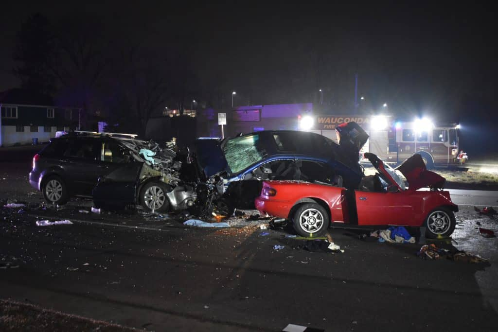 Man killed, 20-year-old seriously injured after 3-car crash in Volo