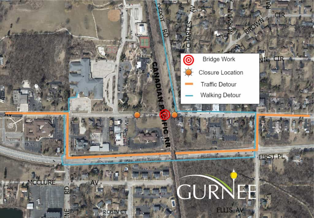 Portion of Old Grand Avenue in Gurnee to close for repairs after truck struck railroad bridge
