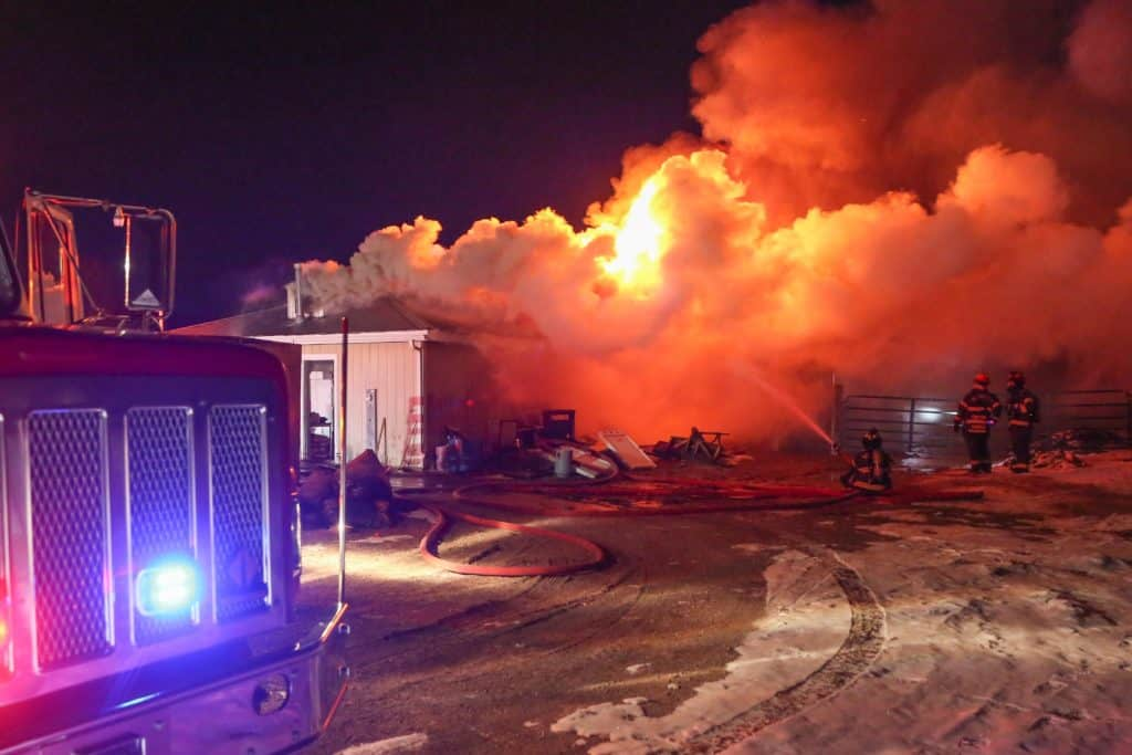 Animals escape after barn destroyed by fire in Woodstock