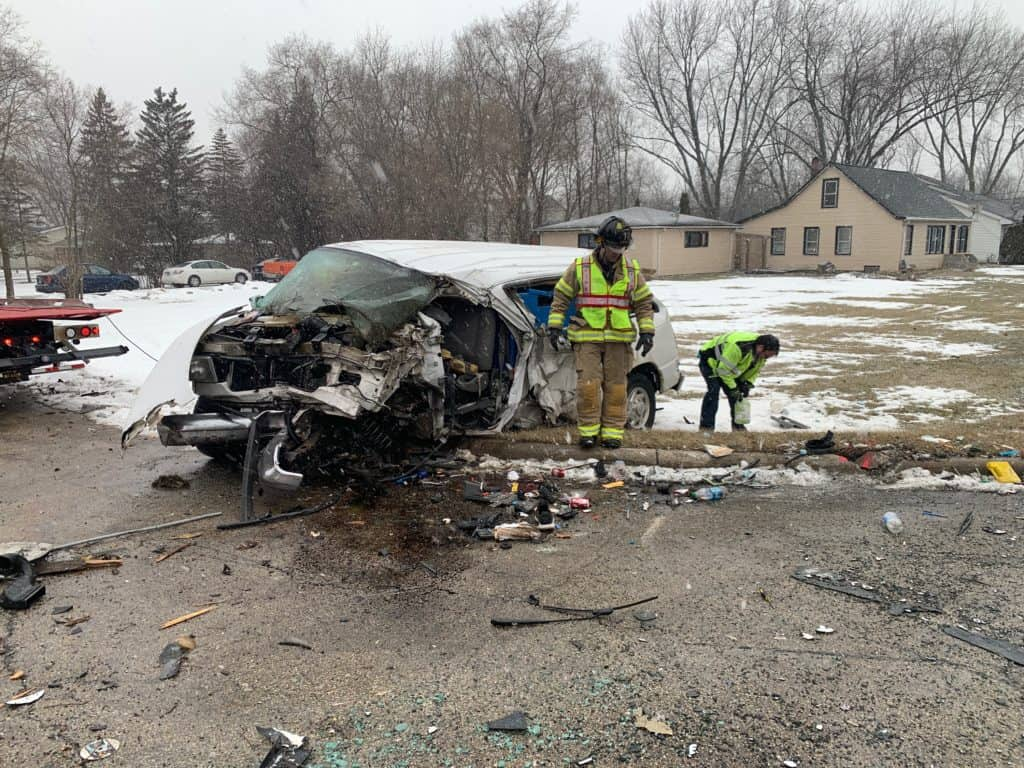 Man in critical condition after van strikes tree, utility pole, rolls over near Waukegan