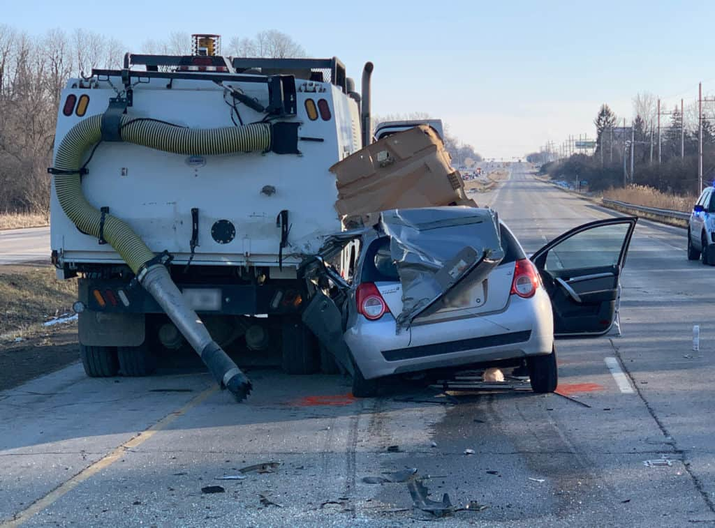 Man in critical condition after street sweeper and car collide in Volo