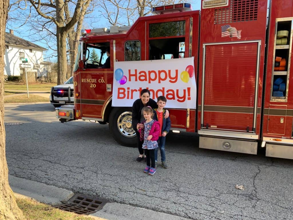 Lake Bluff firefighters celebrate residents' birthdays during stay-at-home order