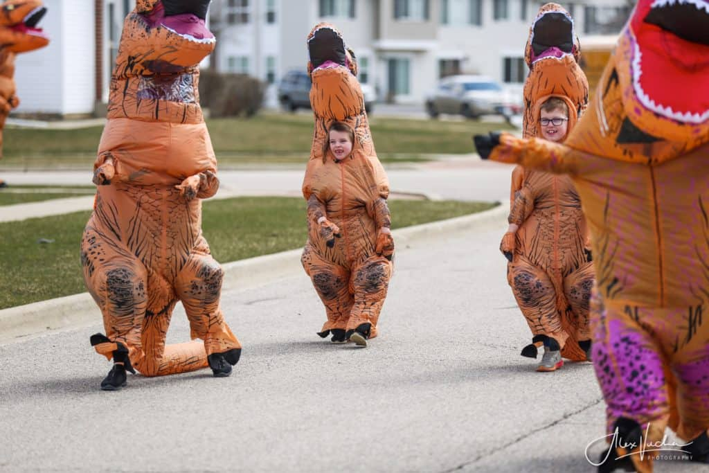 Parade of dinosaurs in Woodstock helps raise awareness for McHenry County front line workers