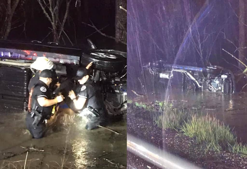 Lake Forest police officers rescue infant, young family from rollover crash in flood water