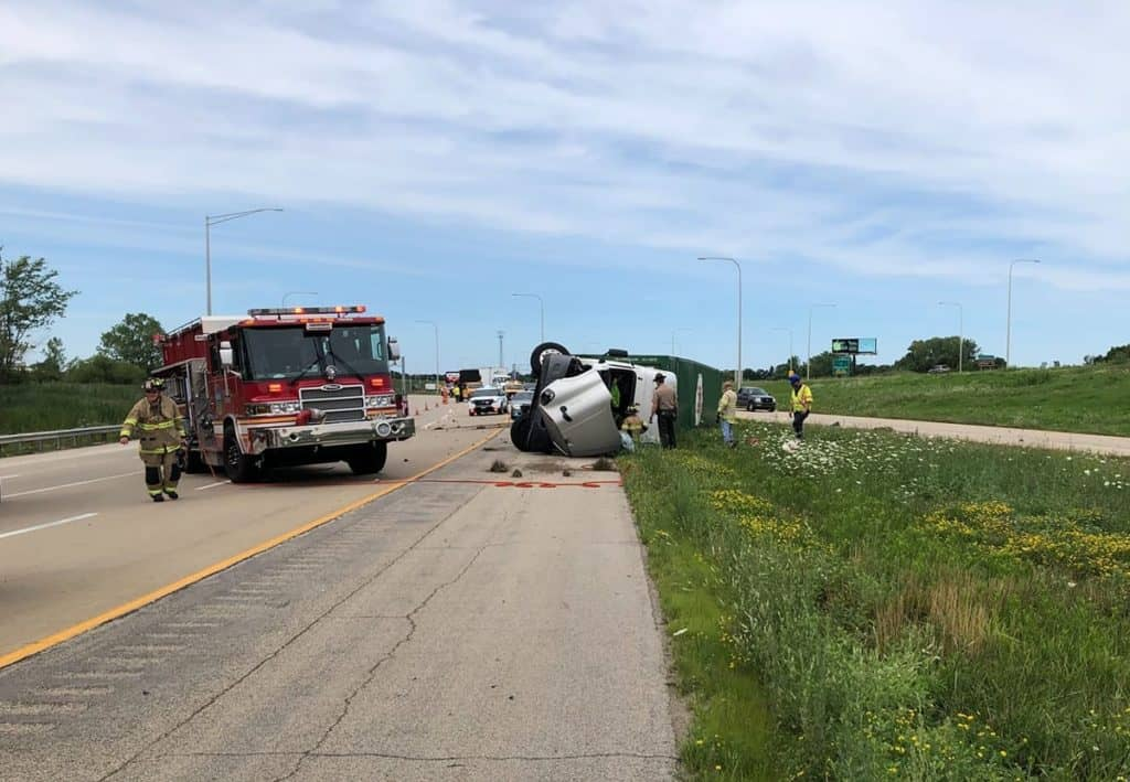 Truck driver rescued from semi-truck after it rolls over on I-94 near Wadsworth