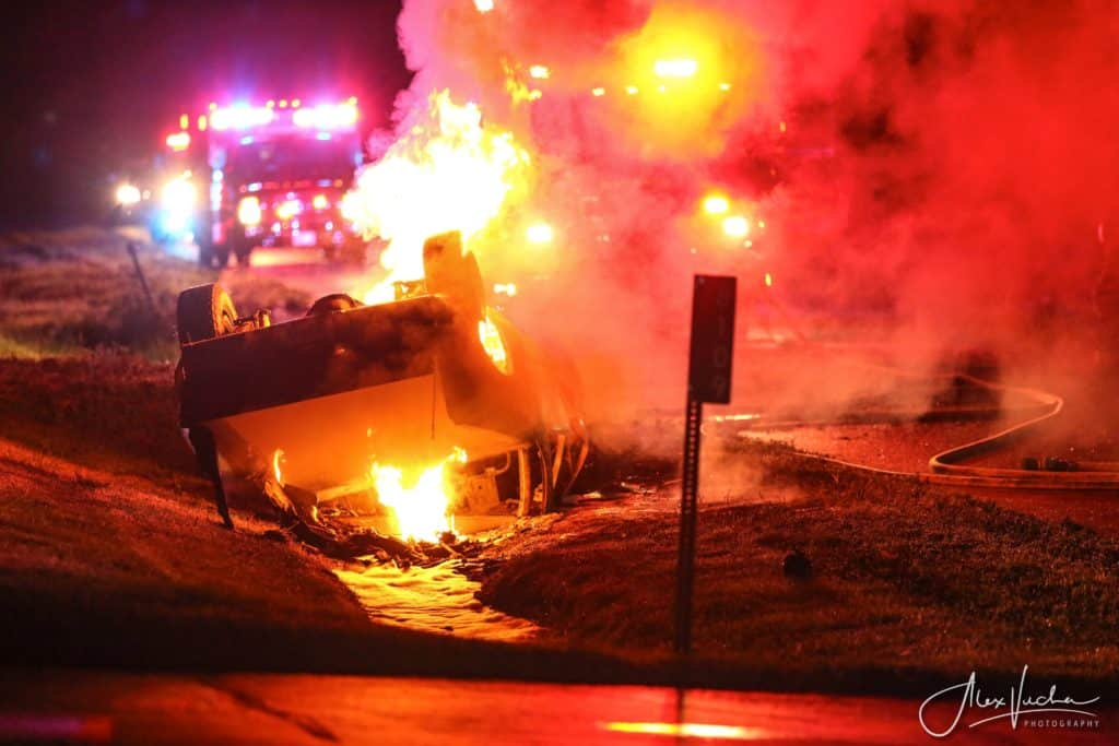 Driver missing after fiery rollover crash near Marengo