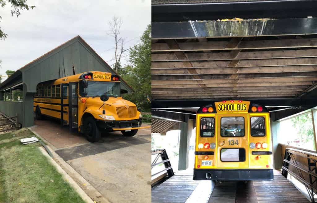 Drivers of school bus and box truck issued numerous citations after damaging Long Grove Covered Bridge