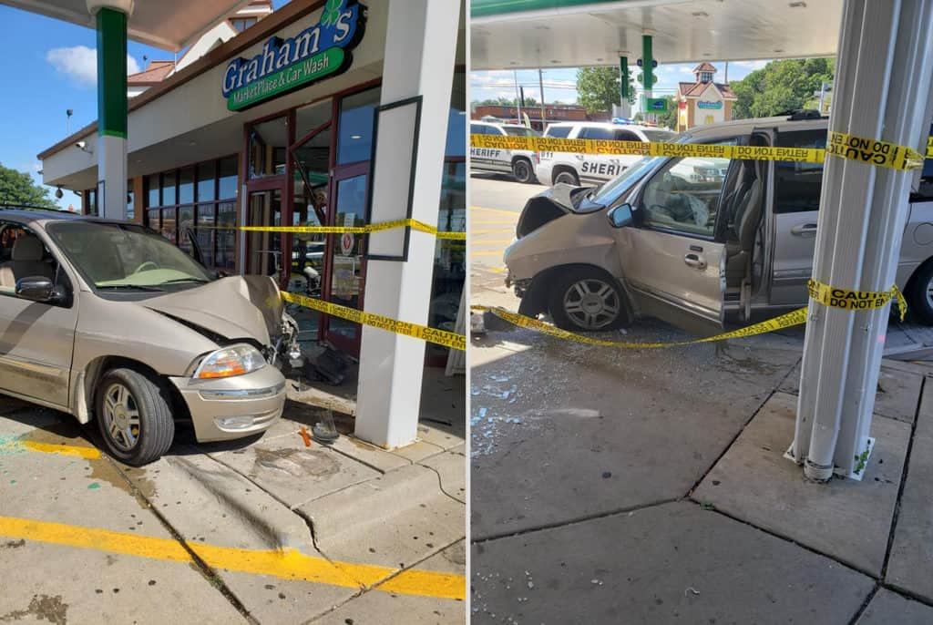 1 injured after minivan crashes into gas station in Wadsworth