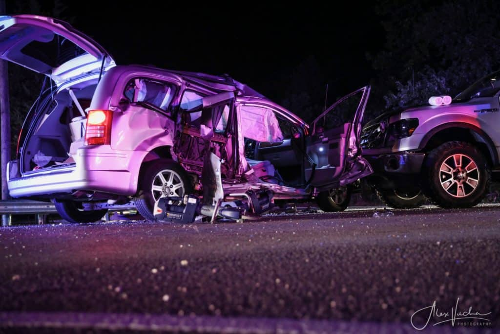 Woman flown to hospital, 3 others hospitalized after crash near Marengo