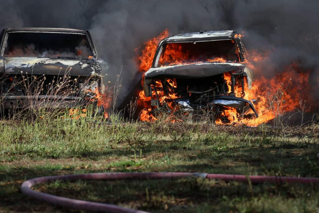 At least 10 vehicles destroyed in fire near Woodstock