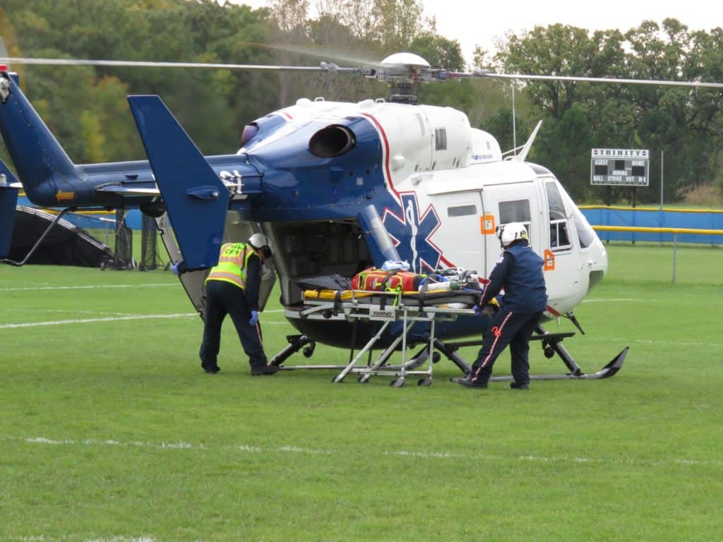 Football player flown to hospital after injury at Trinity University in Bannockburn