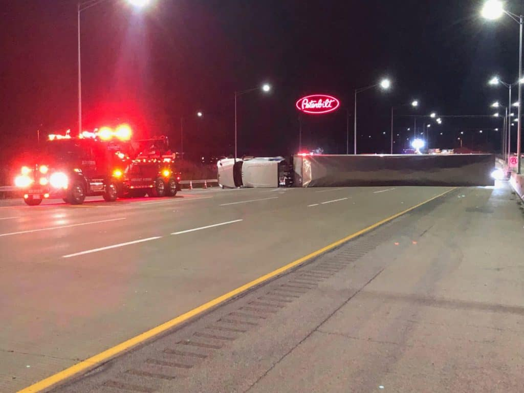 No injuries after semi-truck rolls over on I-94 near Wadsworth
