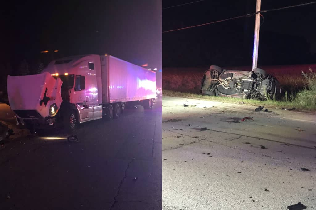 3 hospitalized after rollover crash involving two cars, semi-truck in Antioch