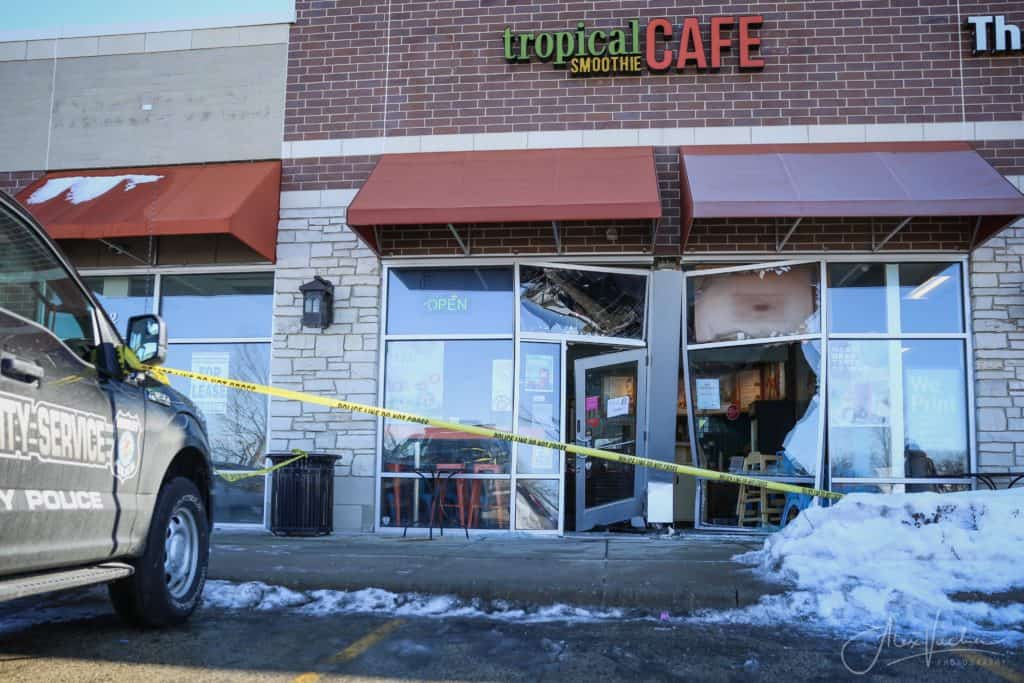 No injuries reported after car smashes into smoothie storefront in Huntley