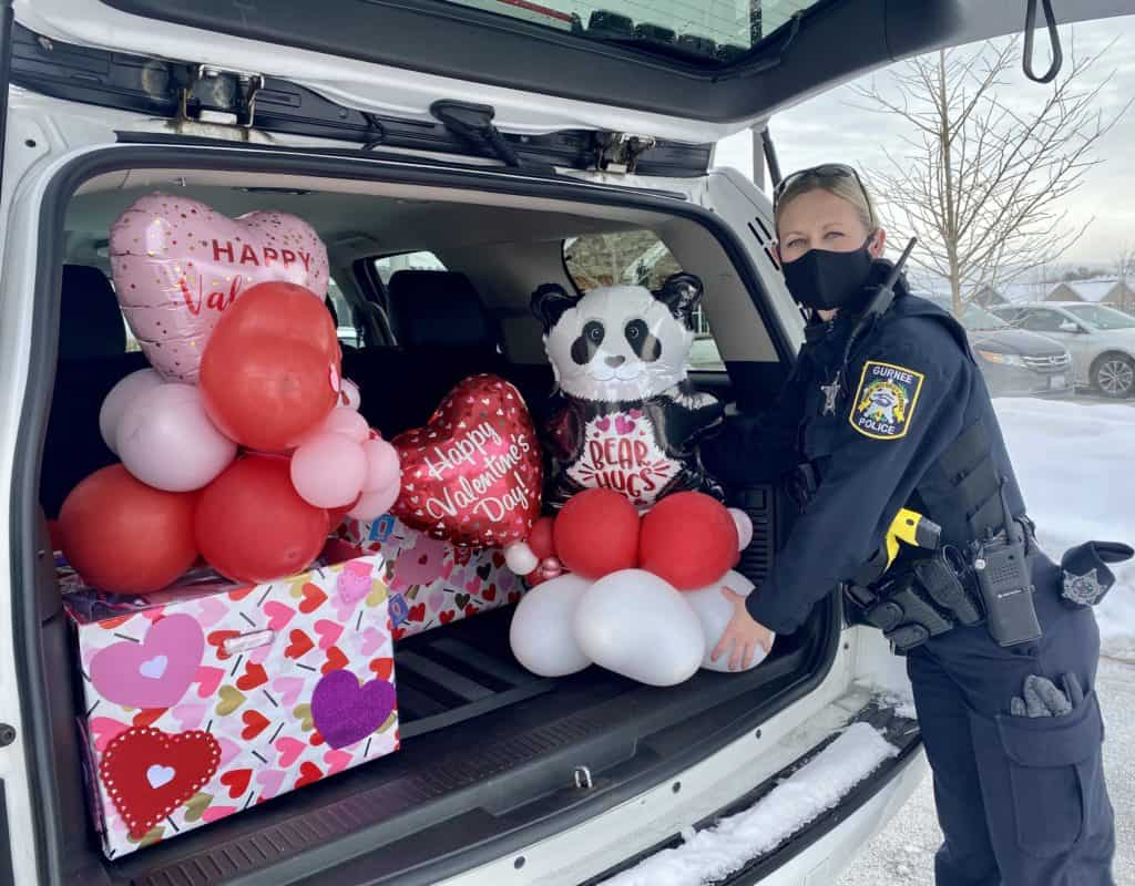 Gurnee police officers, local residents deliver Valentine's Day gifts to senior citizens