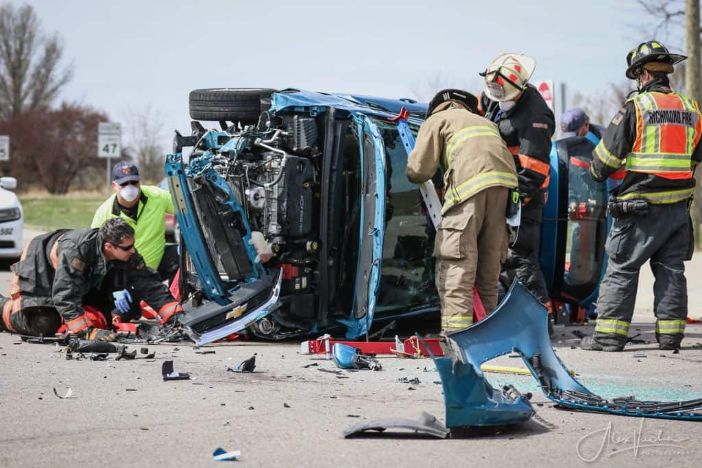 Firefighters extricate 81-year-old man trapped inside rolled over vehicle near Hebron