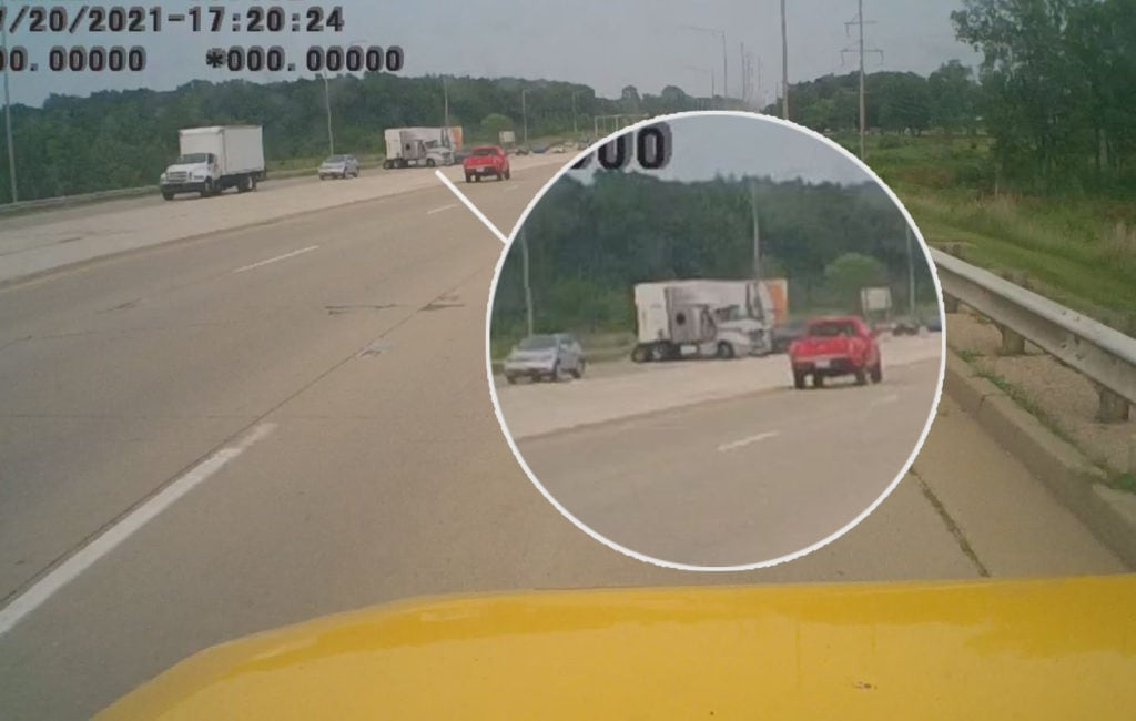 Dashcam video shows moment reckless driver crashes into car, semi-truck near Libertyville